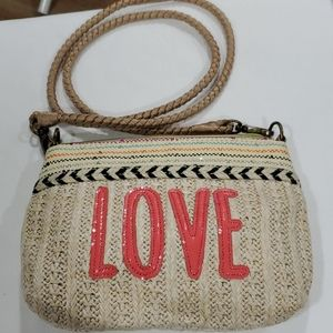 "SAKROOTS CROSSBODY ""LOVE"" PURSE"